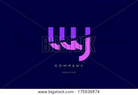 Wy W Y  Pink Blue Alphabet Letter Logo Icon