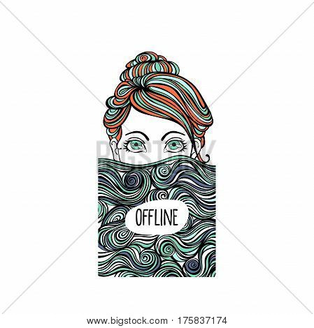 Offline. Girl and waves. Isolated vector objects on white background.