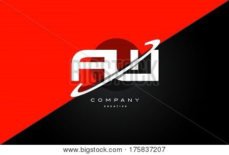 Aw A W  Red Black Technology Alphabet Company Letter Logo Icon