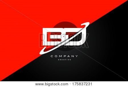 Bd B D  Red Black Technology Alphabet Company Letter Logo Icon