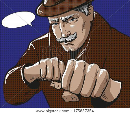 Vector illustration of senior grey-haired man wearing coat and hat. Businessman ready to strike with the fists and overcome challenges in retro pop art comic style.