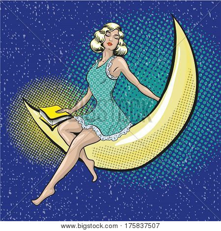 Vector illustration of pretty woman sitting on the crescent. Dreaming girl with book in retro pop art comic style.