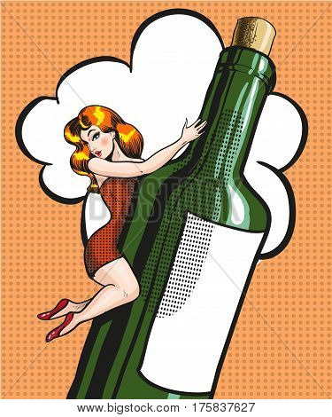 Vector illustration of young woman lying on bottle of wine in retro pop art comic style.