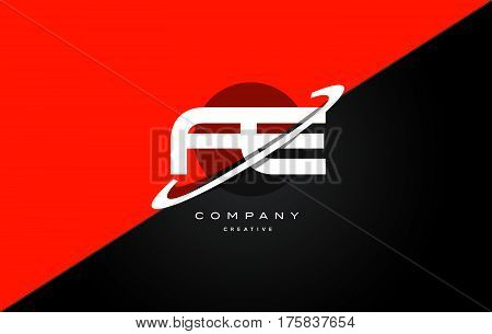 Fe F E  Red Black Technology Alphabet Company Letter Logo Icon