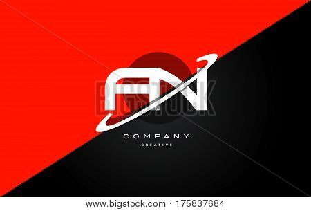 Fn F N  Red Black Technology Alphabet Company Letter Logo Icon