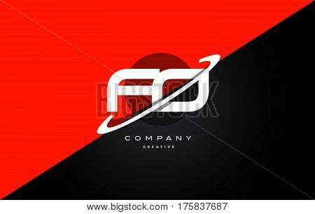 Fo F O  Red Black Technology Alphabet Company Letter Logo Icon