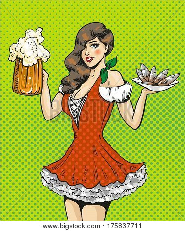 Vector illustration of pretty girl waitress with beer and fish. Oktoberfest beer festival concept in retro pop art comic style.