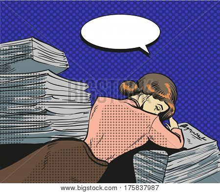 Vector vintage pop art illustration of tired businesswoman. Young woman falling asleep on the heap of papers in retro pop art comic style.