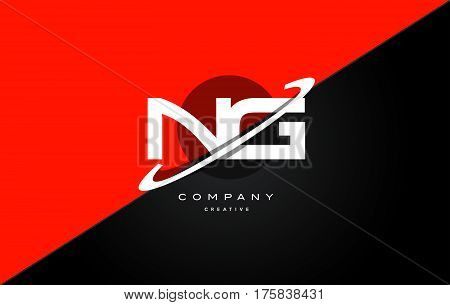 Ng N G  Red Black Technology Alphabet Company Letter Logo Icon
