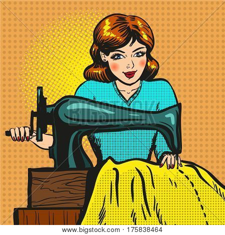 Vector illustration of young woman seamstress sewing on machine. Atelier, sewing workshop, fashion house concept in retro pop art comic style.