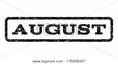 August watermark stamp. Text tag inside rounded rectangle with grunge design style. Rubber seal stamp with scratched texture. Vector black ink imprint on a white background.