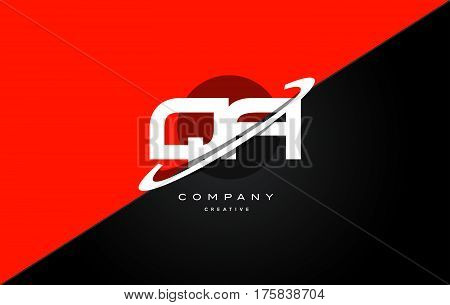 Qa Q A  Red Black Technology Alphabet Company Letter Logo Icon