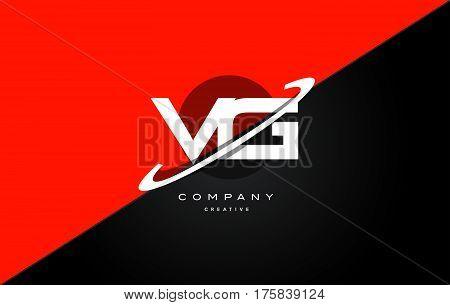 Vg V G  Red Black Technology Alphabet Company Letter Logo Icon