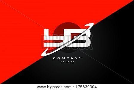 Yb Y B  Red Black Technology Alphabet Company Letter Logo Icon