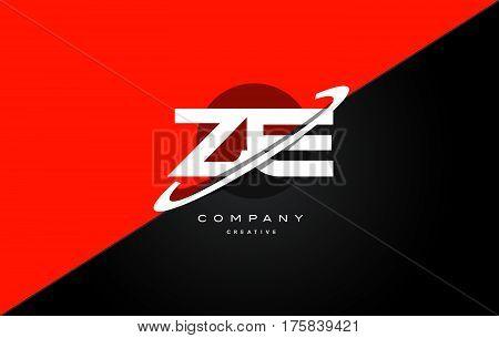 Ze Z E  Red Black Technology Alphabet Company Letter Logo Icon