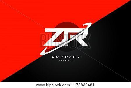 Zr Z R  Red Black Technology Alphabet Company Letter Logo Icon