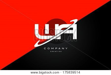 Wa W A  Red Black Technology Alphabet Company Letter Logo Icon