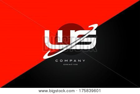 Ws W S  Red Black Technology Alphabet Company Letter Logo Icon