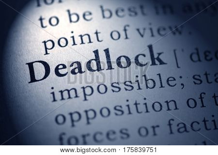 Fake Dictionary Dictionary definition of the word deadlock.