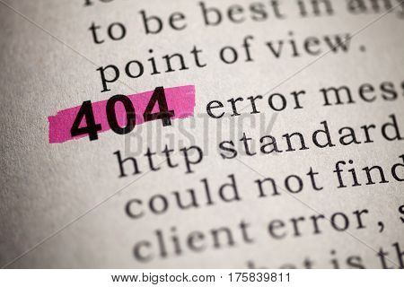 Fake Dictionary Dictionary definition of the word 404.