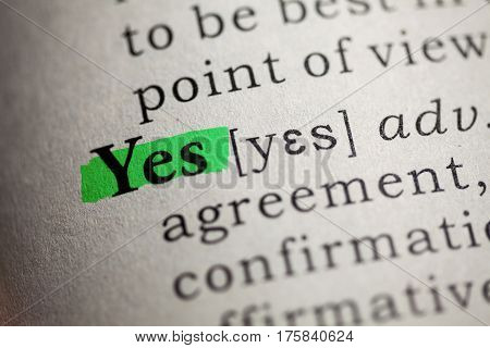 Fake Dictionary Dictionary definition of the word yes.