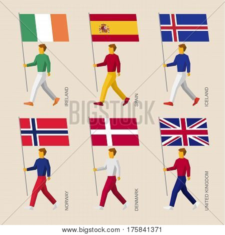 Set Of Simple Flat People With Flags Of European Countries