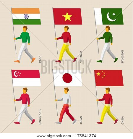 Set Of Simple Flat People With Flags Of Asian Countries