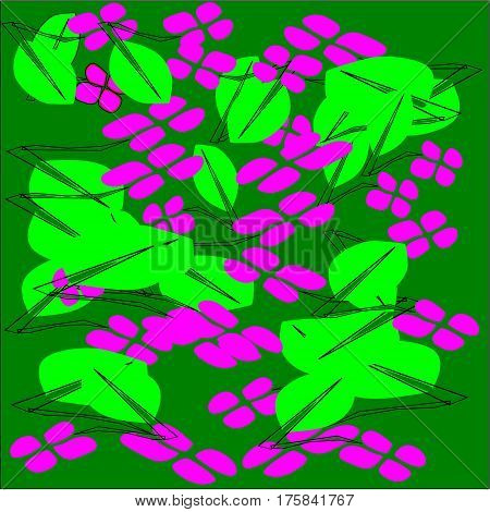 Abstract green background of pink flower petals and green leaves with long cuttings scattered and superimposed throughout the drawing