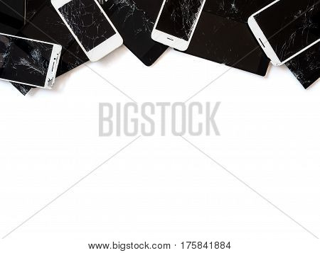 Top view image of the group of broken smartphone screen (e-waste) isolate on white background with copy space Clipping path