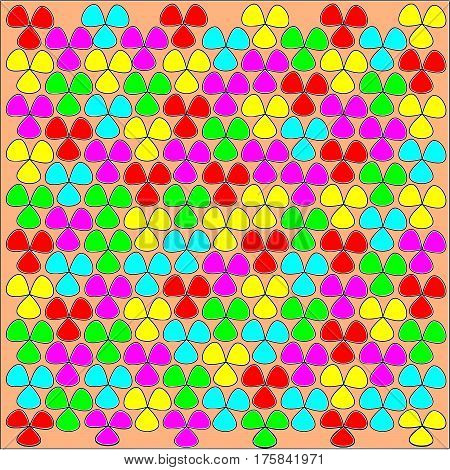 Abstract beige background large colored pink and yellow and blue and red and green flowers with a black stroke superimposed throughout the drawing