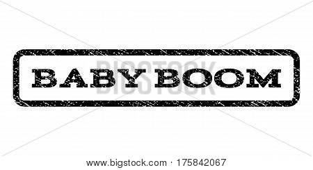 Baby Boom watermark stamp. Text tag inside rounded rectangle frame with grunge design style. Rubber seal stamp with scratched texture. Vector black ink imprint on a white background.