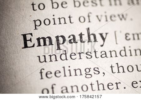 Dictionary definition of the word empathy.