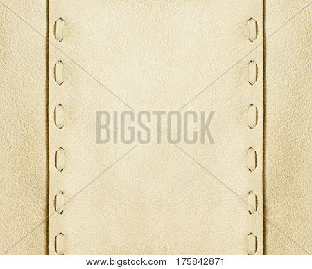 Beige leather texture background with decorative seams