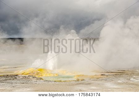Beautiful colors and sunlight at Spasm Geyser in Yellowstone National Park