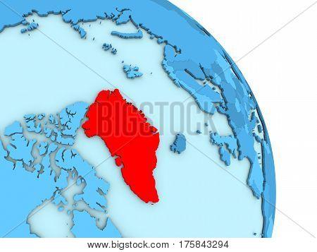 Greenland On Blue Political Globe