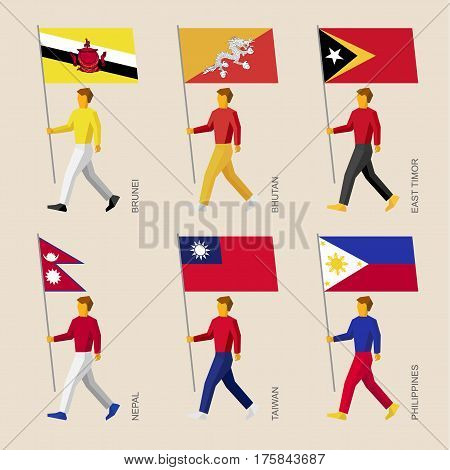 People With Flags: Butan, Brunei, East Timor, Nepal, Taiwan, Philippines