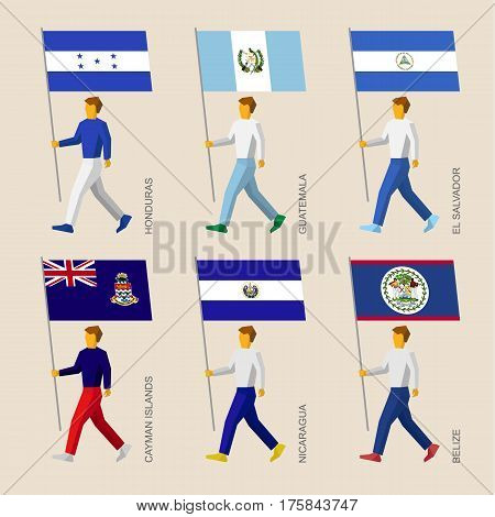 People With Flags: Honduras, Guatemala, El Salvador, Cayman Islands, Nicaragua, Belize