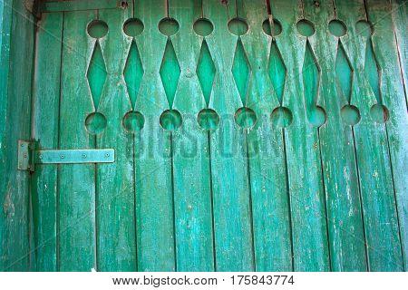 Part Old Wooden Shabby Blue Door On A Farm