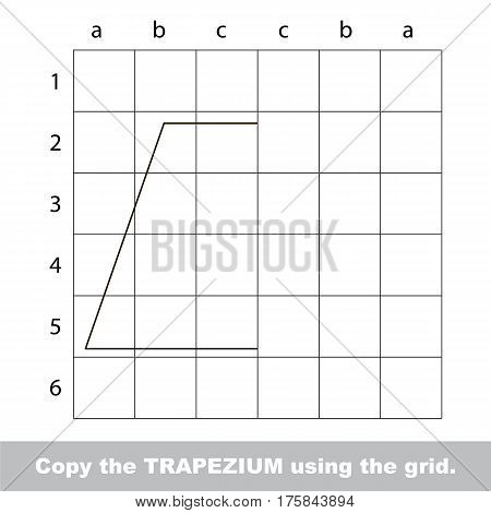 Finish the simmetry picture using grid sells, vector kid educational game for preschool kids, the drawing tutorial with easy game level for half of Trapezium.