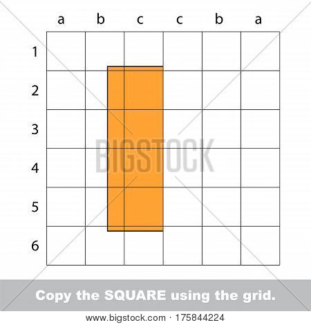 Finish the simmetry picture using grid sells, vector kid educational game for preschool kids, the drawing tutorial with easy game level for half of Rectangle