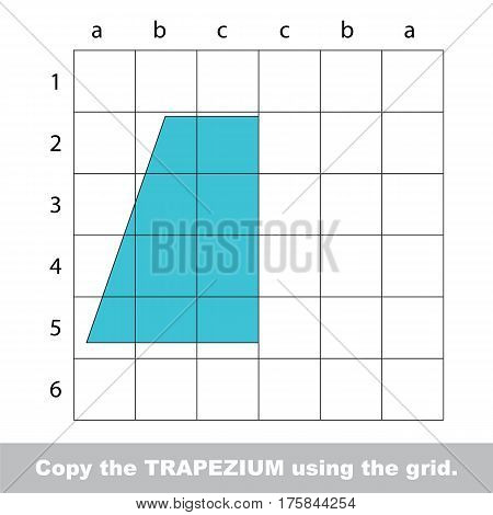 Finish the simmetry picture using grid sells, vector kid educational game for preschool kids, the drawing tutorial with easy game level for half of Trapezium