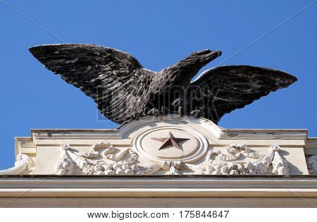 ROME, ITALY - SEPTEMBER 02: The symbol of aeronautics military Italian corps Palazzo ex Unione Militare in Rome, Italy on September 02, 2016.