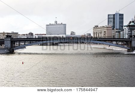 Moscow. Russia, February 25.2017: House Russian Federation Government in Moscow. city view