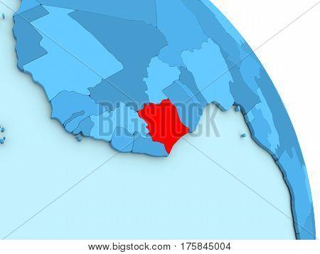 Ivory Coast On Blue Political Globe