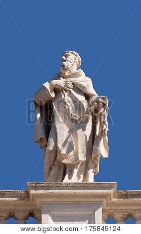 ROME, ITALY - SEPTEMBER 02:  St. John of Matha, fragment of colonnade of St. Peters Basilica. Papal Basilica of St. Peter in Vatican, Rome, Italy on September 02, 2016.