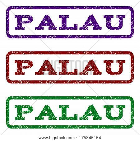 Palau watermark stamp. Text caption inside rounded rectangle frame with grunge design style. Vector variants are indigo blue, red, green ink colors. Rubber seal stamp with dirty texture.