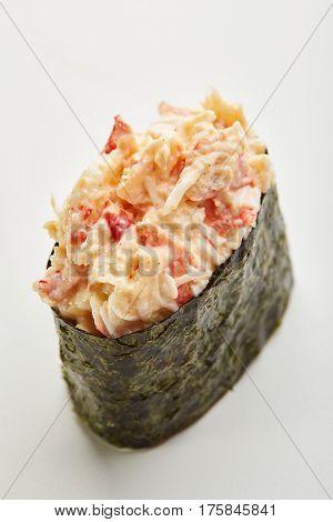 Japanese Sushi - Nori wrapped Crabmeat Gunkan Sushi on White Background