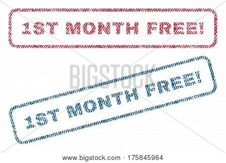 1st Month Free exclamation text textile seal stamp watermarks. Blue, red fabric vectorized texture. Vector tag inside rounded rectangular shape. Rubber sign with fiber textile structure.
