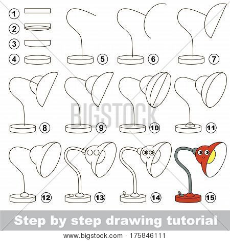 Drawing tutorial for preschool children, the easy educational kid game with simple game level of difficulty, how to draw Red Lamp.