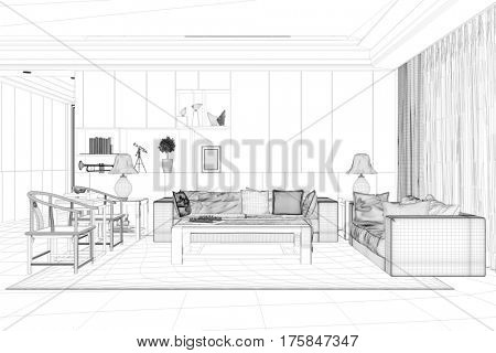 CAD model of living room with sofa and chairs in room planer (3D Rendering)